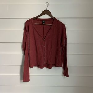(NWOT) Burgundy Button Down Sweater Blouse